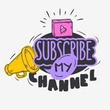 Vlog Video Blog Related Social Media Themed Cartoon Style Design Subscribe My Channel Call To Action Vector Graphic.  stock illustration