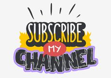 Vlog Video Blog Related Social Media Themed Cartoon Style Design Subscribe My Channel Call To Action Vector Graphic.  vector illustration