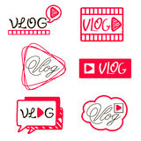 Vlog or video blogging   channel buttons set. Vector illustration. Royalty Free Stock Photography
