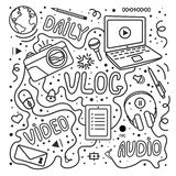 Vlog or video blogging or video channel set with handdrawn elements. Vector illustration made in doodle style, black and. White design royalty free illustration