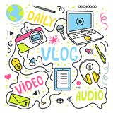 Vlog or video blogging or video channel set with handdrawn elements. Vector illustration made in doodle style, colourful. Design stock illustration