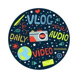 Vlog or video blogging or video channel set with handdrawn elements. Vector illustration made in doodle style, colourful. Design. Poster or t-shirt design vector illustration