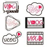 Vlog or video blogging video channel buttons set. Vector illustration. Stock Images