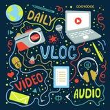 Vlog or video blogging or video channel set with handdrawn elements. Vector illustration made in doodle style, colourful. Design vector illustration