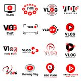 Vlog video channel logo icons set, simple style Royalty Free Stock Image