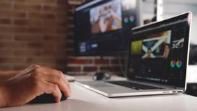 Vlogger create and editing video content for upload on social media