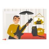 Vlogger jouant la guitare et chantant la chanson sur l'écran visuel illustration libre de droits