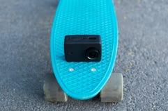 vlogging skateboarding da vida urbana da câmera da ação Imagens de Stock