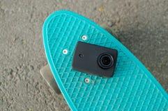 vlogging skateboarding da vida urbana da câmera da ação Fotografia de Stock