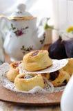 Vlokkig gebakje met fig. Stock Foto's