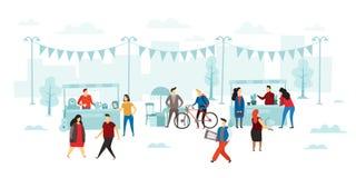 Vlooienmarkt De mensen kopen en verkochten, de verkoop van de vlooienwinkel en straat het winkelen vlakke vectorillustratie vector illustratie