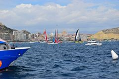 Vloot strak Ingepakt Volvo Oceaanras Alicante 2017 royalty-vrije stock foto's