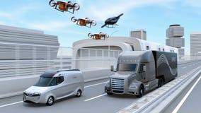 Vloot van Amerikaanse Vrachtwagens, ladingshommels en vliegende auto stock illustratie