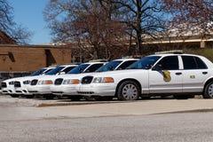 Vloot van auto's van de de Politieafdeling van Indianapolis de Metropolitaanse IMPD heeft jurisdictie in Marion County II stock foto