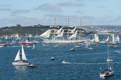 Vloot van Boten bij het Lange Schepenfestival, Falmouth, Cornwall stock fotografie