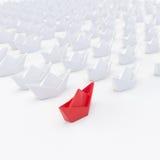 Vloot van 3d Witboekschepen met rode één, geeft terug stock illustratie
