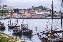 Vloot van Havenboten op de Douro-Rivier royalty-vrije stock afbeelding