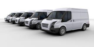 Vloot van leveringsbestelwagens Royalty-vrije Stock Afbeeldingen
