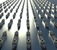 Vloot van olietankersboten op het overzees royalty-vrije stock afbeeldingen