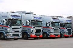 Vloot van Scania-Vrachtwagens stock foto's