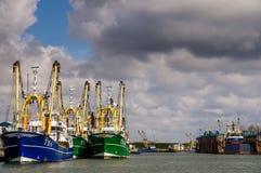 Vloot van vissersboten Stock Afbeeldingen