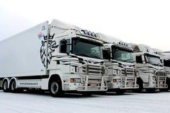 Vloot van Vrachtwagens in de Winter stock fotografie