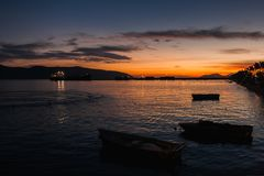Vlore in Albania. Sunset over Adriatic and Ionian Sea royalty free stock images