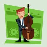 Vlotte en elegante jazz contra basspeler Stock Afbeelding