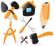 Vlotte hulpmiddelenpictogrammen stock illustratie