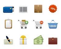 Vlotte reeks > het winkelen pictogrammen Royalty-vrije Stock Afbeelding