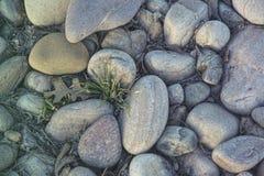 Vlotte stenen in de zonsondergang stock foto's