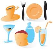 Vlotte voedsel en drankpictogrammen Royalty-vrije Stock Fotografie