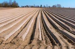 Vlotte voren van landbouwgrond, geploegd gebied in de lente stock foto's