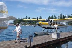 Vlottervliegtuigen bij de pijler stock fotografie