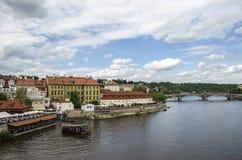 Vltava河在布拉格,捷克共和国 库存照片
