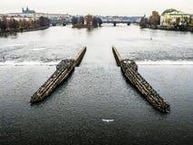 Vltava河在布拉格,捷克共和国 库存图片