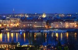 Vltava στη νύχτα Στοκ Φωτογραφίες