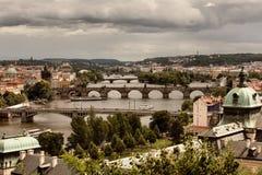 Vltava and bridges in Prague Stock Photos