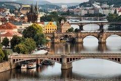 Vltava and bridges in Prague Royalty Free Stock Image