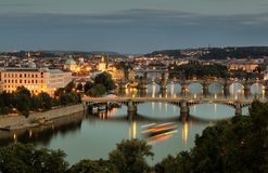 Vltava and bridges in Prague Royalty Free Stock Photos