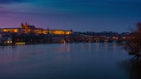 Vltava and Charles Bridge Dusk to Night Timelapse in Prague. A dusk to night timelapse of the Charles Bridge, Prague Castle and Vltava River in Prague, Czech stock video footage