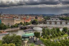 Vltava e pontes em Praga Foto de Stock Royalty Free