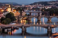 Vltava e pontes em Praga Fotografia de Stock