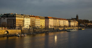 Vltava embankment at dusk Royalty Free Stock Photography