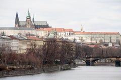 Vltava flodPrague sikt royaltyfria bilder