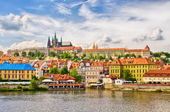 Vltava and Hradcany district in Prague, Czech Republic Stock Images