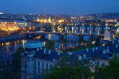 Vltava in night lighting Royalty Free Stock Image