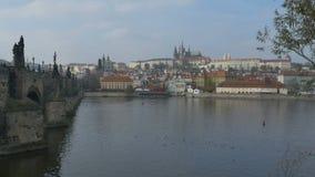 Vltava and Old Town Prague stock video