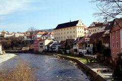 Vltava river in Český Krumlov. Český Krumlov translated sometimes to Czech Crumlaw, is a small city in the South Bohemian Region of the Czech royalty free stock photos