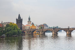 Vltava River and bridges in a morning fog Stock Image